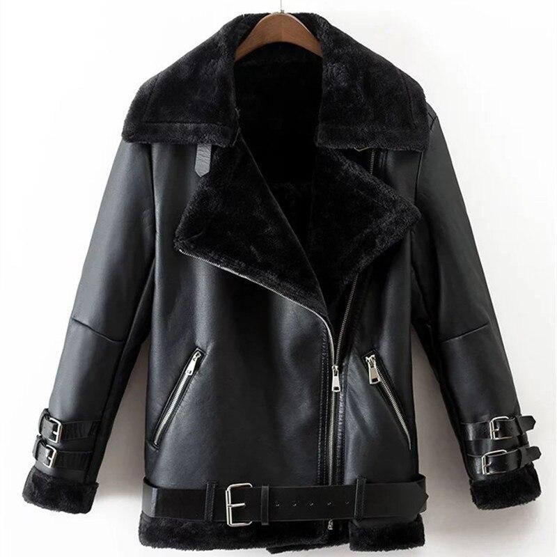 Casual Women Winter Thick PU Coat Black Faux Leather Zipper Female Jacket