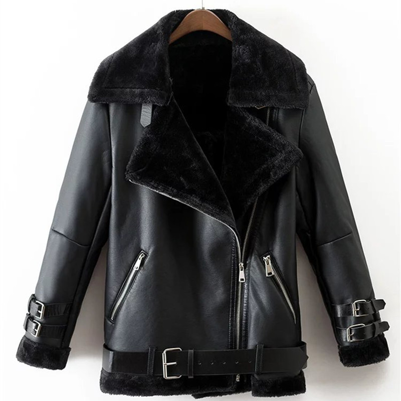 Casual Women Winter Thick PU Coat Black Faux   Leather   Zipper Female Jacket