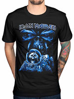 Printed T Shirt Iron Maiden Final Frontier Blue Album Spaceman T Shirt Fear Of The Dark