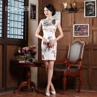 DJGRSTER 2019 New Chinese Style Women Mini Really Silk Rayon Cheongsam Qipao Traditional Chinese Dress Classic Satin Qipao