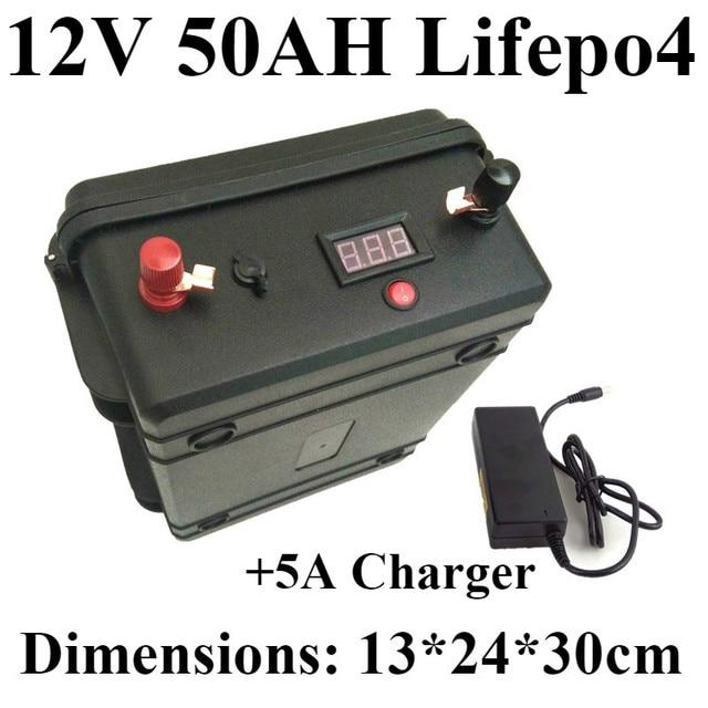Lifepo4 12 v 50ah batterie + LED spannungsanzeige ABS wasserdichtes gehäuse 5A Ladegerät für autoscooter boot Zurück maschine beleuchtung Xenon EV