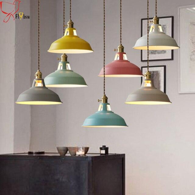 Nordic Moderne kleurrijke ijzeren Hanglampen eetkamer/woonkamer ...