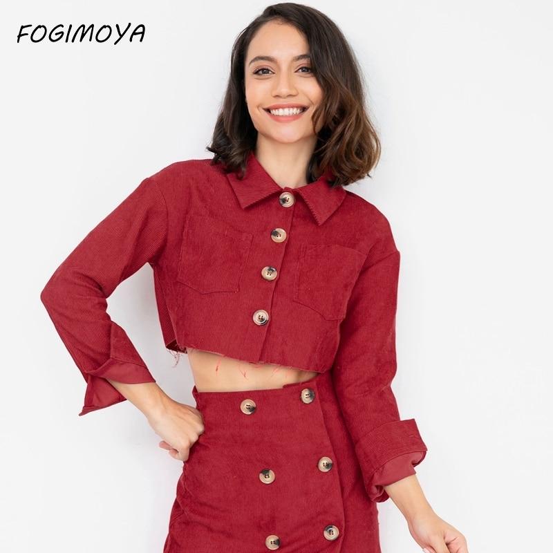FOGIMOYA Jacket Women Autumn Solid Corduroy Ladies Jackets BF Wind Short Coat Tops Casual Long Sleeve Jacket Wild New