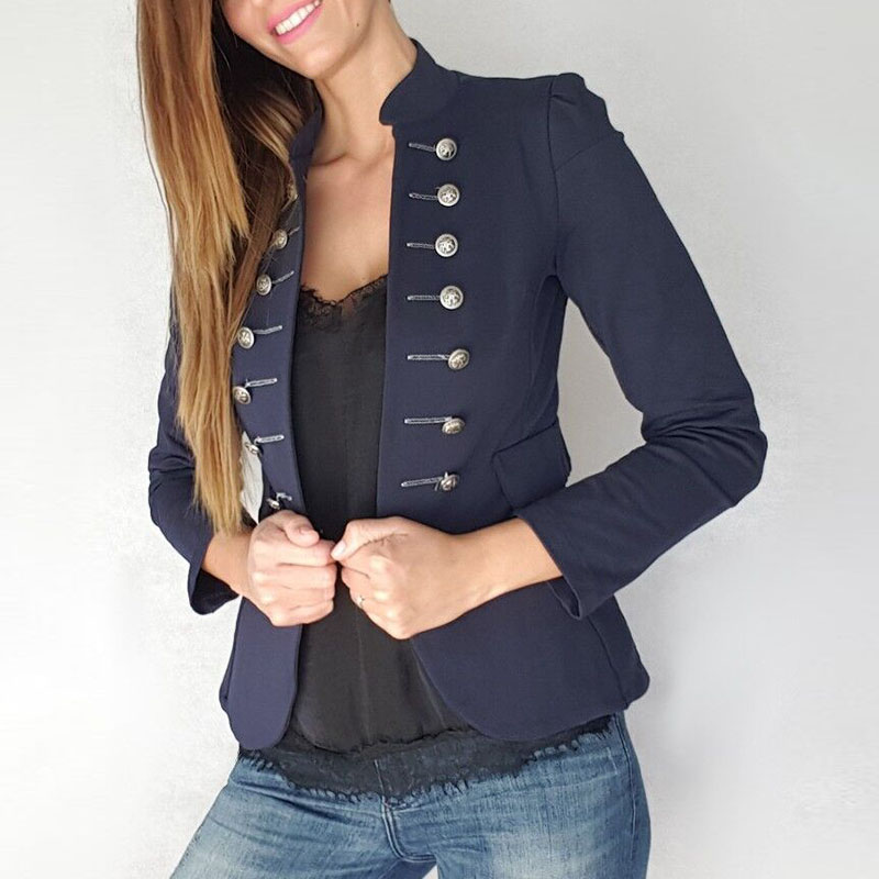 New Woman Solid Blazer Spring Autumn Fashion Full Sleeve Stand Collar Double Breasted Casual Elegant Lady Blazer Coat Female9973