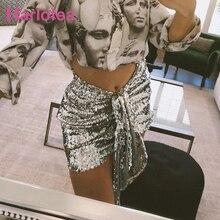 Karlofea, Сексуальная мини-юбка с блестками, серебряная, блестящая, элегантная верхняя одежда, низ, женская одежда для ночного клуба, вечеринки, новая летняя повседневная юбка
