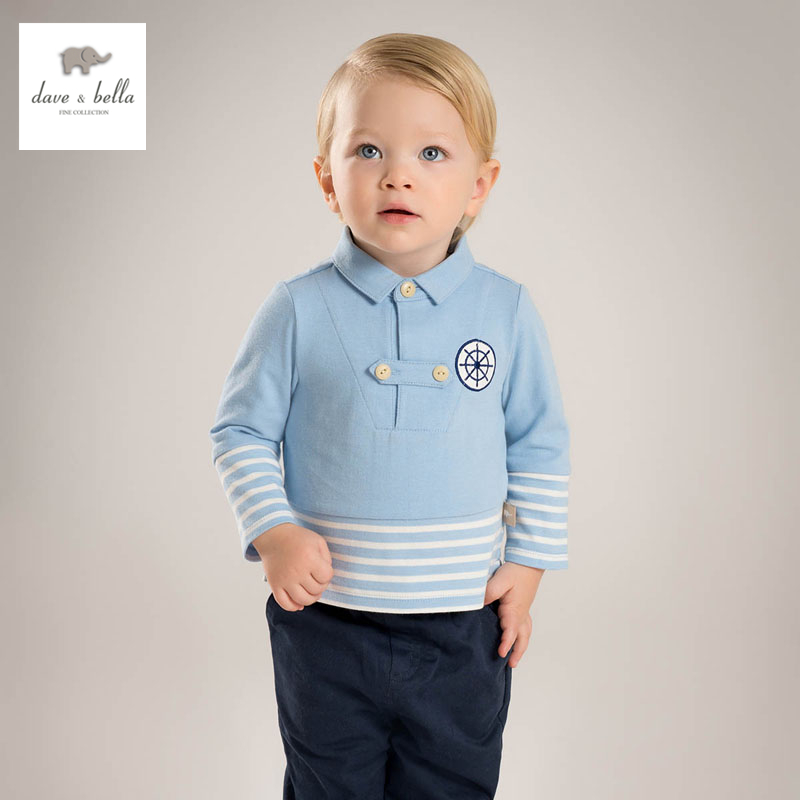 ФОТО DB4542 dave bella spring new arrival boys blue striped clothing set top pants