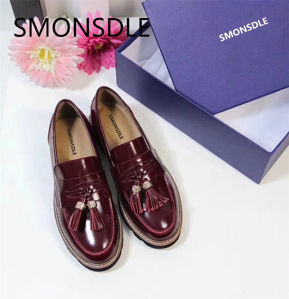 SMONSDLE Spring Autumn Black Genuine Leather Women Flat Shoes Round Toe Fringe Metal Decoration Slip On Casual Fats Shoes Woman morazora spring autumn genuine leather flat shoes woman round toe platform fashion casual slip on women flats gold