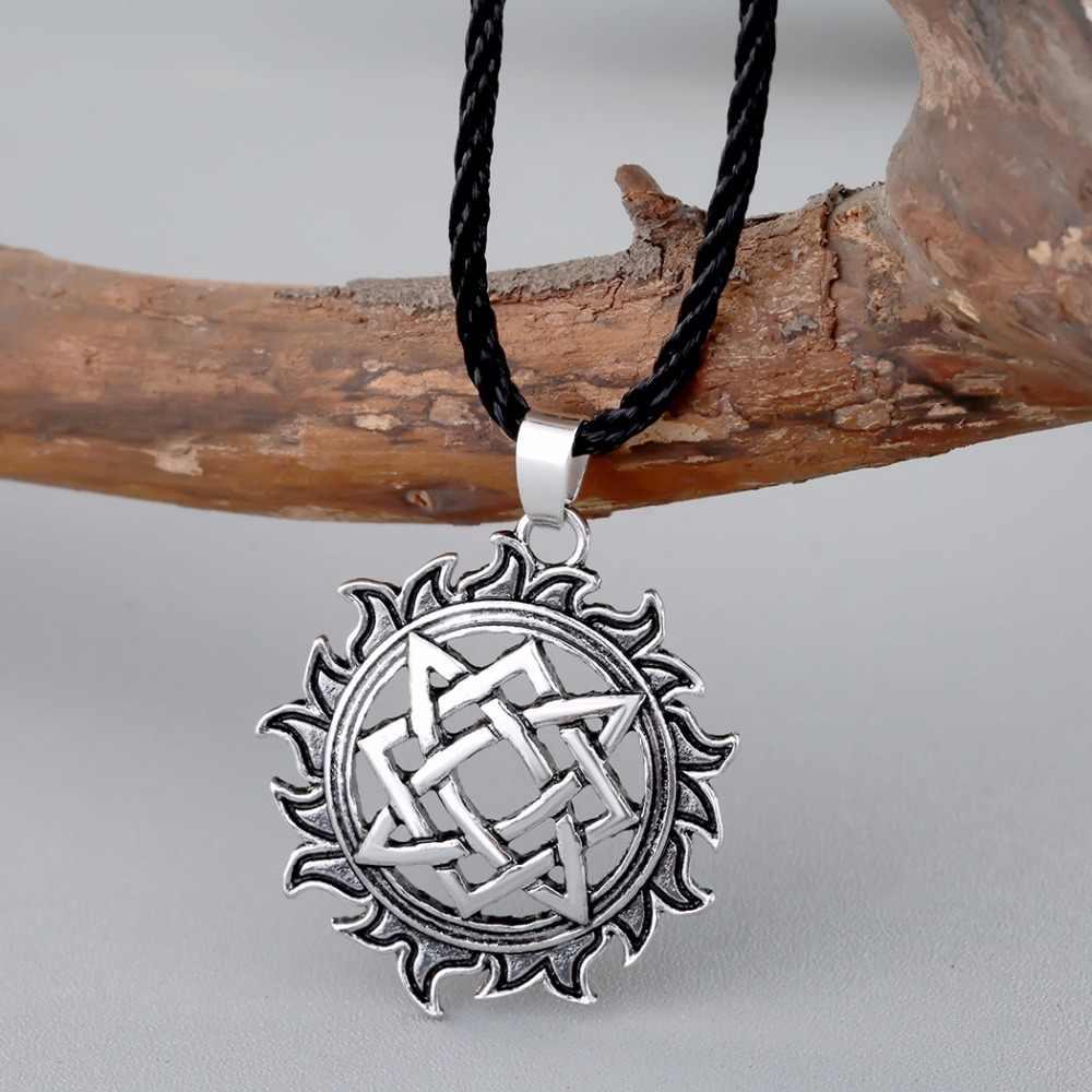 Qiming alatyrスターslavicジュエリー太陽シンボルお守りペンダント北欧オカルトペンダントゲルマン異教男性ネックレス古代ジュエリー