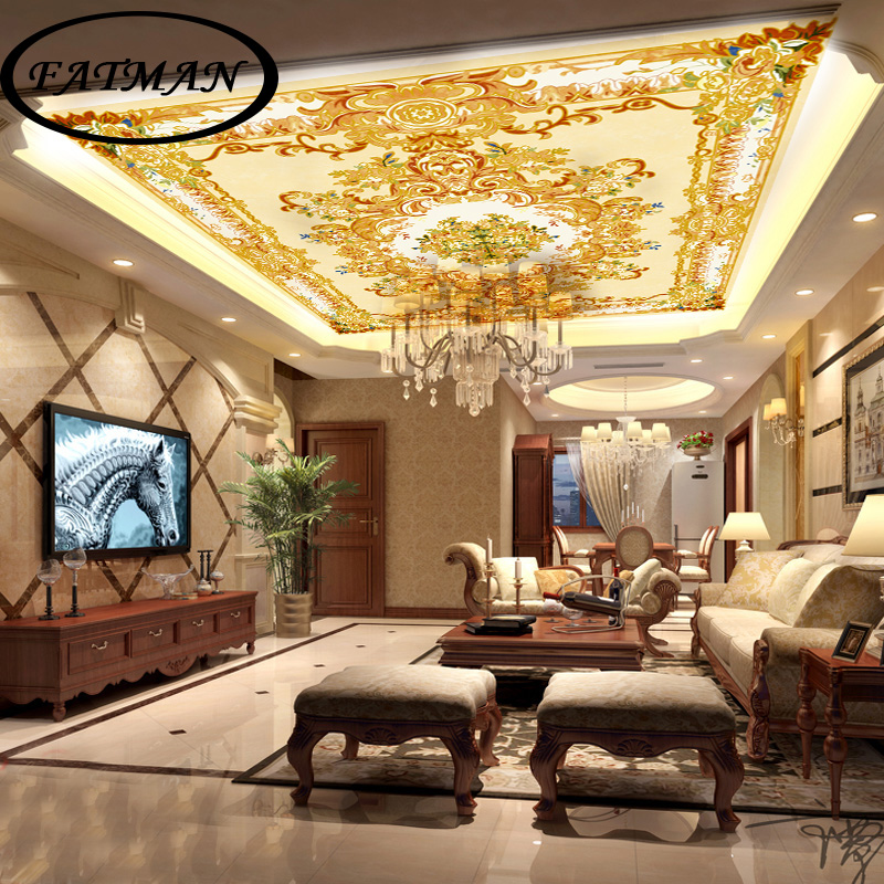 Individuelle Fototapeten 3d Goldenen Decke Wandbild Tapete Europischen Wohnzimmer Lobby Studio