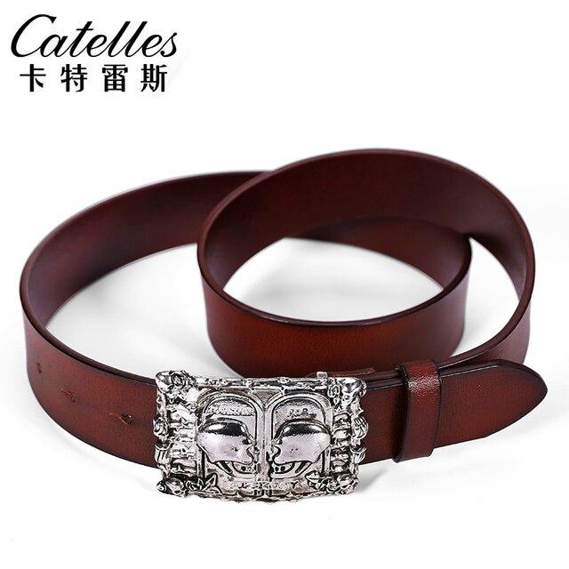 Catelles women skull leather belt Fashion belts Genuine Leather Good Quality Soft leather Belts for women  Jean belts 2017