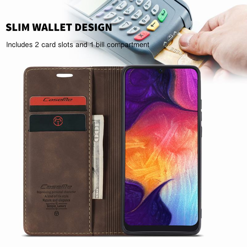 Luxury Magnetic Flip Leather Case For Samsung A50 A 50 Cases Cover Wallet Card Slots Design Luxury Magnetic Flip Leather Case For Samsung A50 A 50 Cases Cover Wallet Card Slots Design Business Vintage Book For Galaxy A50