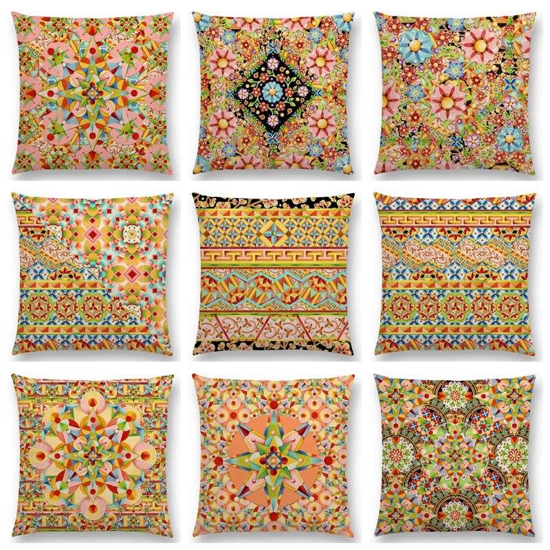 gypsy bohemian mandala cushion couch throw pillow case