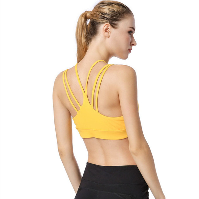 aed541eb07433 Red High Support Strappy Sports Bra For Women Yellow Shockproof Yoga  Fitness Running Bras Wireless Tight Stretch Sport Top