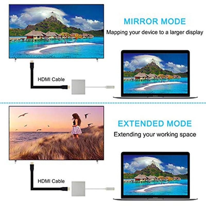 Baolyda USB C Dock HDMI Type C to HDMI Hub Adapter 4K USB C Multiport Adapter USB C Converter for MacBook/Chromebook Pixel/Dell 4