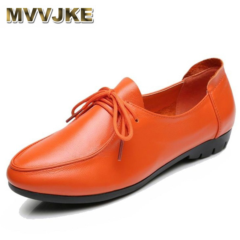 MVVJKE Women's Handmade Shoes Genuine Leather Flat Lace Up Shoes Woman Loafers Soft Casual Shoes Women Flats Plus Size 35-43E180 guvoosm new autumn full genuine leather women flats female lace up loafers casual handmade rubber shoes woman big size 36 43