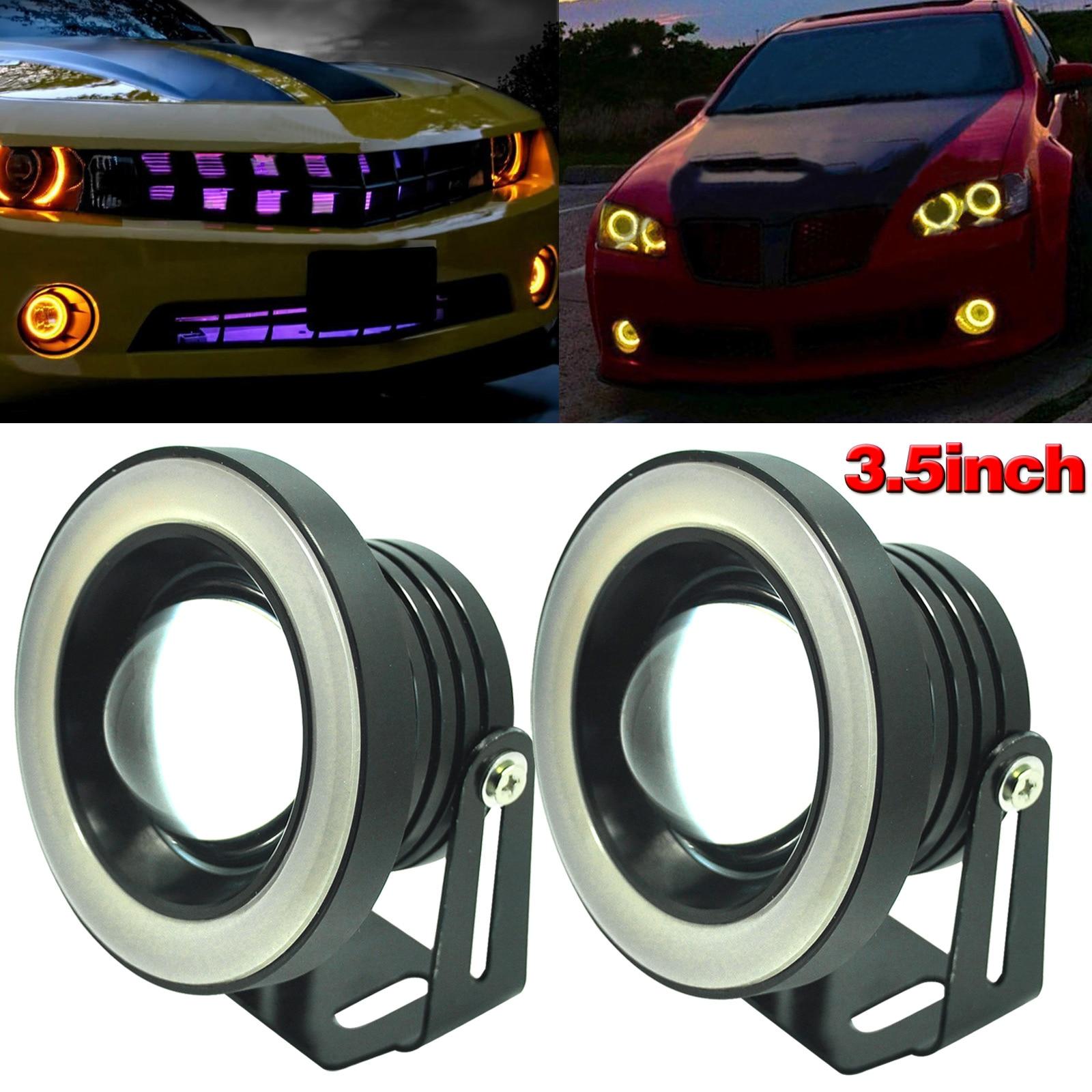 1pair 3.5inch Car COB LED Fog Driving Light Projector Tube Halo Angel Eyes DRL Bulbs M8617