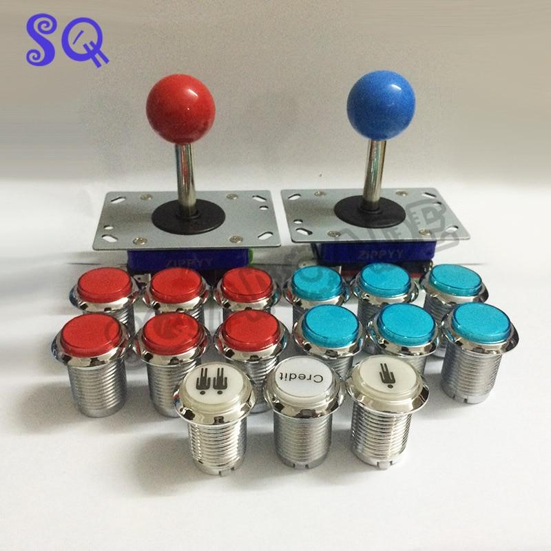 Bricolage arcade packs 15 chrome illuminer bouton micro bouton de démarrage 2 arcade zippy joystick bricolage joystick pour 645 en 1 jeu