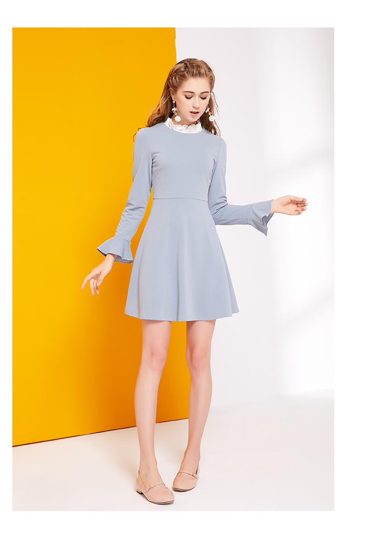 Small Fragrant Long Sleeved Dress Autumn 2017 New Female Korean Fashion stand Collar A line Skirt