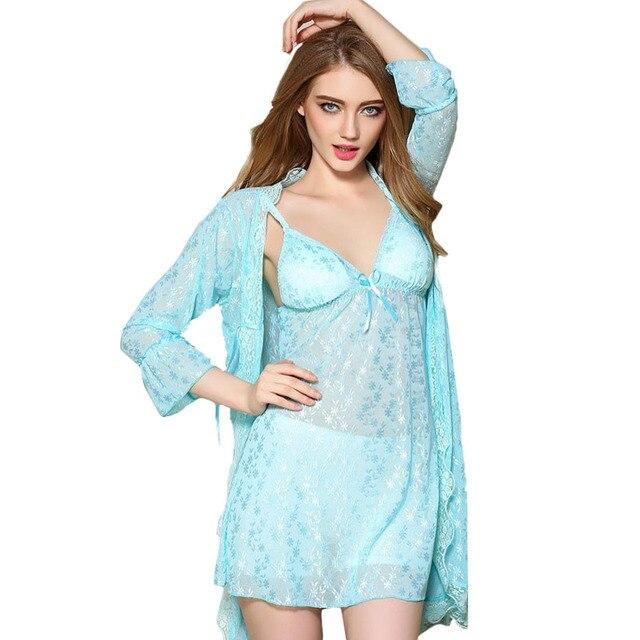 New Arrival Sexy Women's Robe Set 2016 Nightwear Lounge Sleepwear Silk Lace Satin Female Home Night Wear Cardigans Pijama