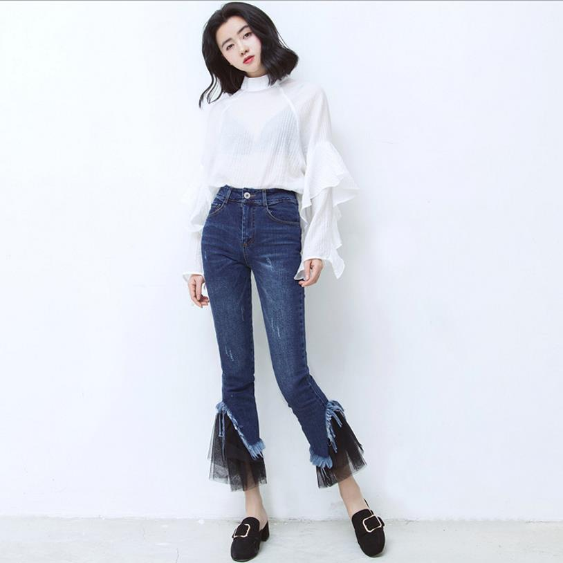 High Quality Women Jeans Fashion New Lace Tassel Ankle-length Pants High Zipper Fly Trousers Skinny Lady Girl Flare Pants Jeans tommy hilfiger new dark moss green women s 6 ankle zipper cargo pants $89 408