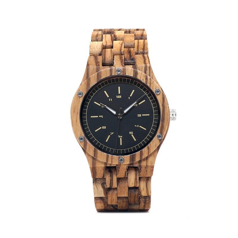 BOBO BIRD WN12 Wooden Watches Mens Brand Luxury Zebra Wood Band Quartz Watch in Wooden Gift Box-in Quartz Watches from Watches    2