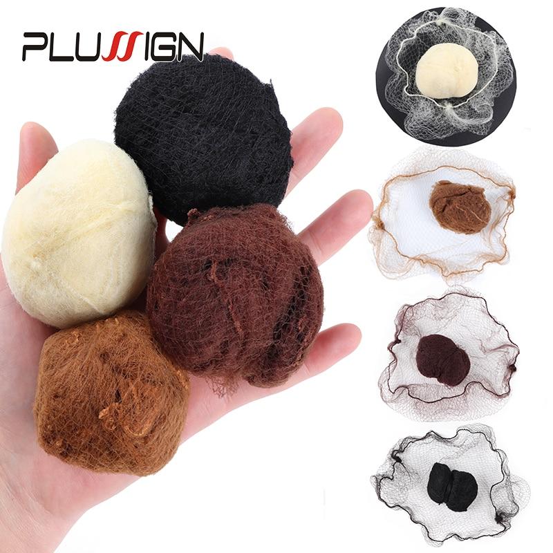 Plussign Nylon Hairnets Invisible Elastic Edge Mesh For Girls Women Bun 20Pcs Fine Hair Nets For Wig Weaving Black Dark Coffee
