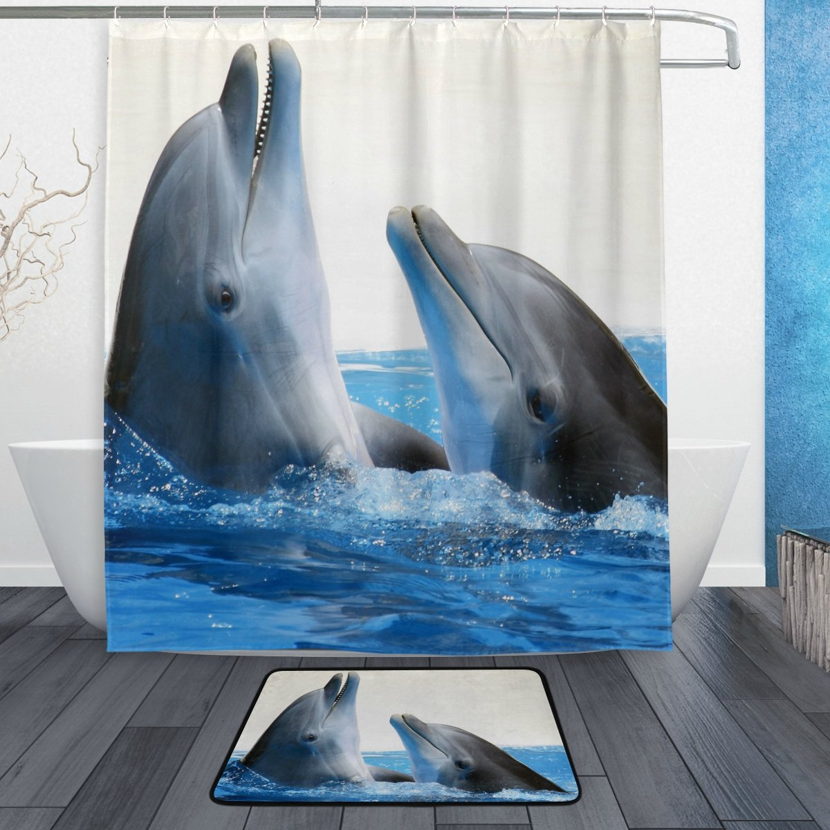 Ocean Sea Dolphin Shower Curtain And Mat Set Cute Sea