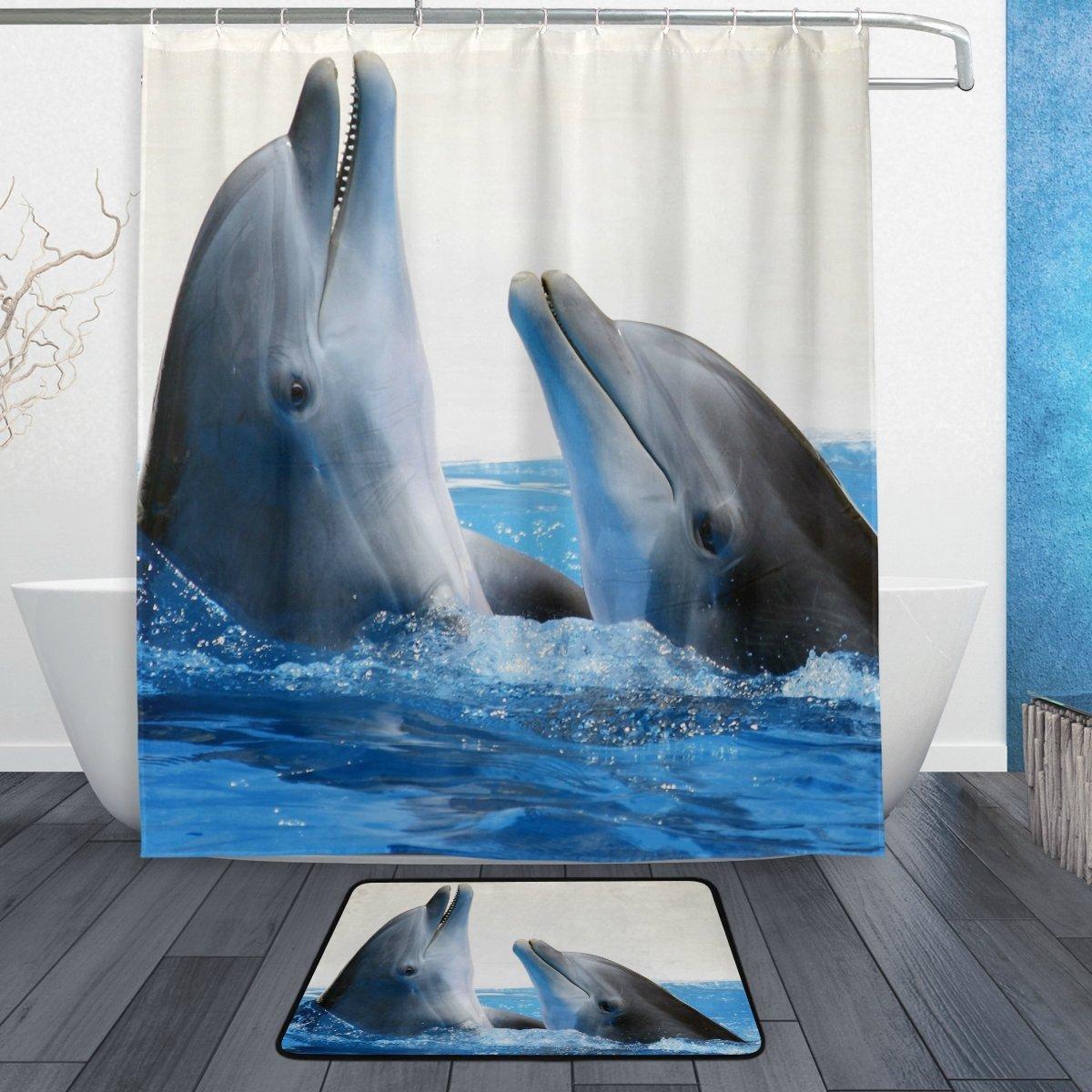 Ocean Sea Dolphin Shower Curtain And Mat Set Cute Sea