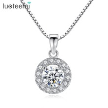 Christmas Gift 60% Costume Jewelry Hearts & Arrows Cut 0.6 Carat Swiss Cubic Zirconia Round Micro Inlay Necklaces Pendants