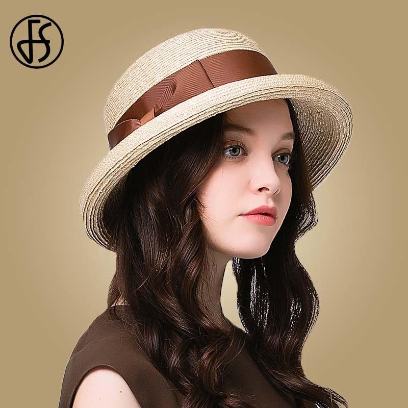 FS élégant chapeau de paille raphia pour les femmes d'été à large bord chapeaux de soleil plage disquette Bowknot Fedora dames Cloche visière casquettes