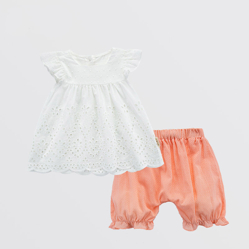 Infant Ruffle Short Sleeve White Tops+Shorts Outfits Clothes Baby Girl Summer Cotton Set Tiny Toddler Girl Picture Shoot Clothes