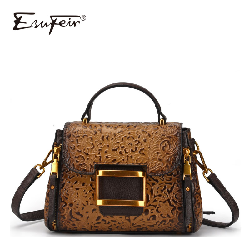 ESUFEIR New Embossed Genuine Leather Handbag Brand Vintage Handbag Shoulder Bag Messenger Bag Designer Casual Small