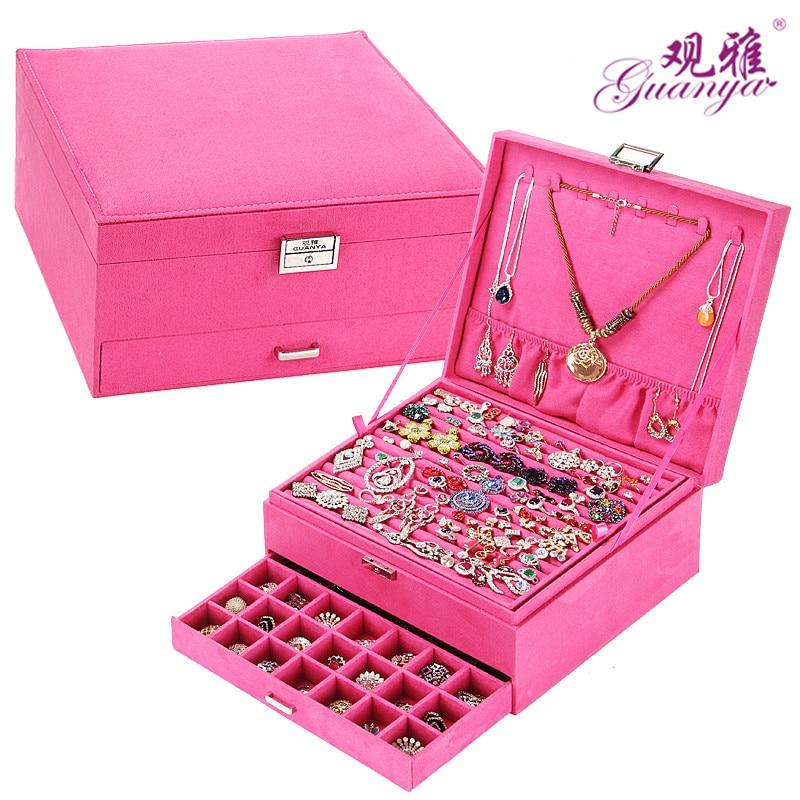 Nuevo estilo joyería de lujo cajas 3 capas con bloqueo gran espacio organizador de anillo y collar joyería titular 4 color