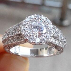Image 5 - Newshe Halo חתונת אירוסין טבעת 1.8 Ct עגול לחתוך AAA CZ מוצק 925 כסף סטרלינג תכשיטים קלאסיים לנשים JR4232