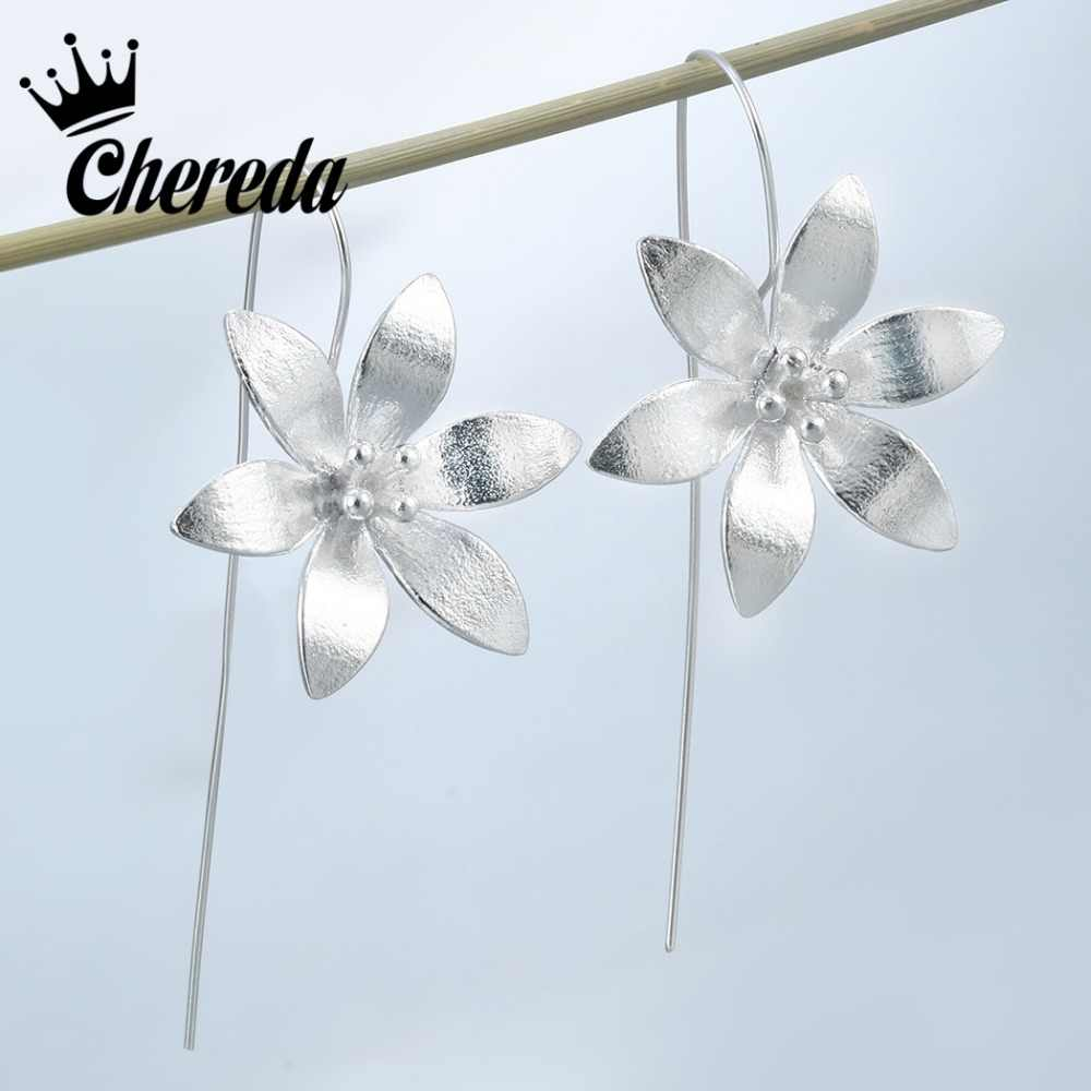 Chereda  Long Flower Earrings For Women Jewelry New Design Lovely Girls Gift Statement Top Quality Fashion Jewelry