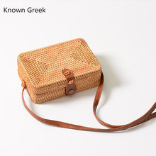 New Women Round Rattan Bag Straw Crossbody Bags  Handmade bags Lady Square Buckle Hot Handbag