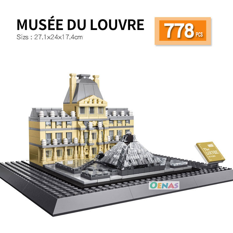 compatible Architecture Paris Louvre Palace Museum Landmark assembled Building Blocks Construction Bricks kid toys children gift
