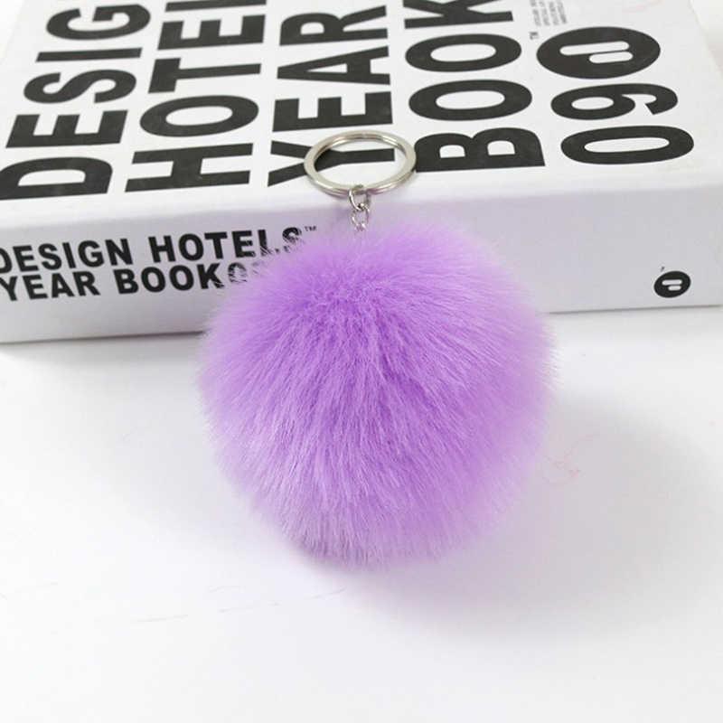 Imitação de Pele de Coelho Chaveiro Bola de Pelúcia Pingente de Chave Da Cadeia de Moda Feminina Fur Bag Cabide Mulheres Bola de Lã Saco de Carro anel chave