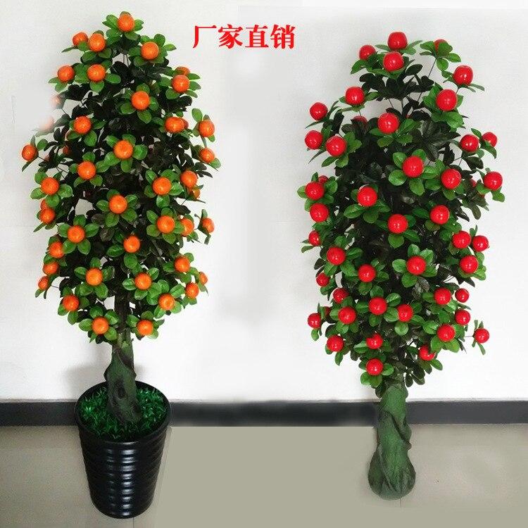 Intérieur plantes artificielles 140cm doré orange pommier sans pot salon décoration plastique plantes maison plantes bonsaï
