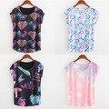 Новая Мода 2016 Летом женские 4 Стилей Алмазы Звезды 3D Напечатаны с коротким Рукавом О шеи Топы Милые Девушки Желтые футболки SH14