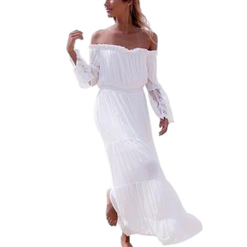 Playa de Bohemia del Vestido largo Maxi Vestidos 2017 Mujeres Blanco Elegante Du