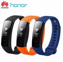 """Huawei Honra 3 Inteligente Pulseira Pulseira Swimmable 5ATM 0.91 """"Touchpad Tela OLED Monitor de Freqüência Cardíaca Empurre Mensagem"""
