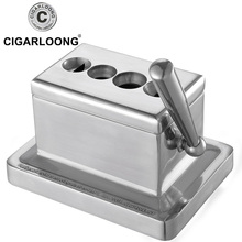 CIGARLOONG Eggplant Long Cigar Cutter Krupp Stainless Steel 4 Hole V Cylinder Scissors Luxury
