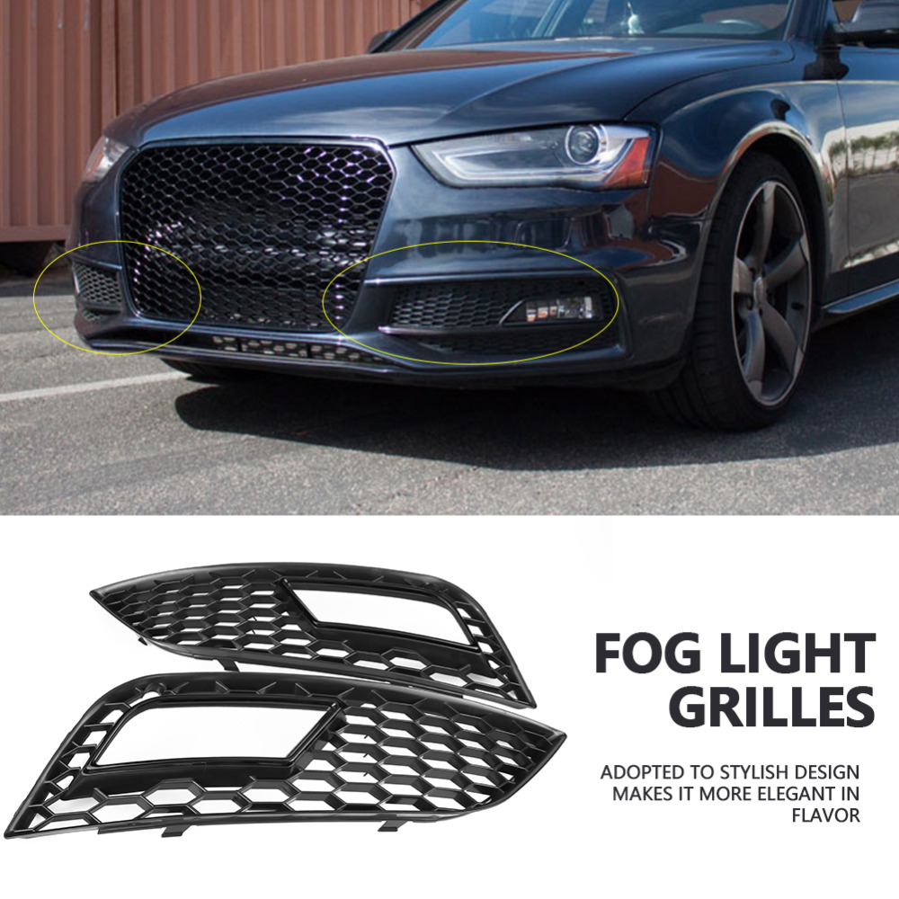 2 pcs Car Front Bumper Fog Light Grilles for Audi A4 B8 5 RS4 2013 2014