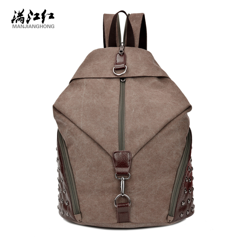 Fashion Rivets Canvas Bag Match Good Leather Canvas Backpack 15 Laptop Backpack Man Bag Woman Bag