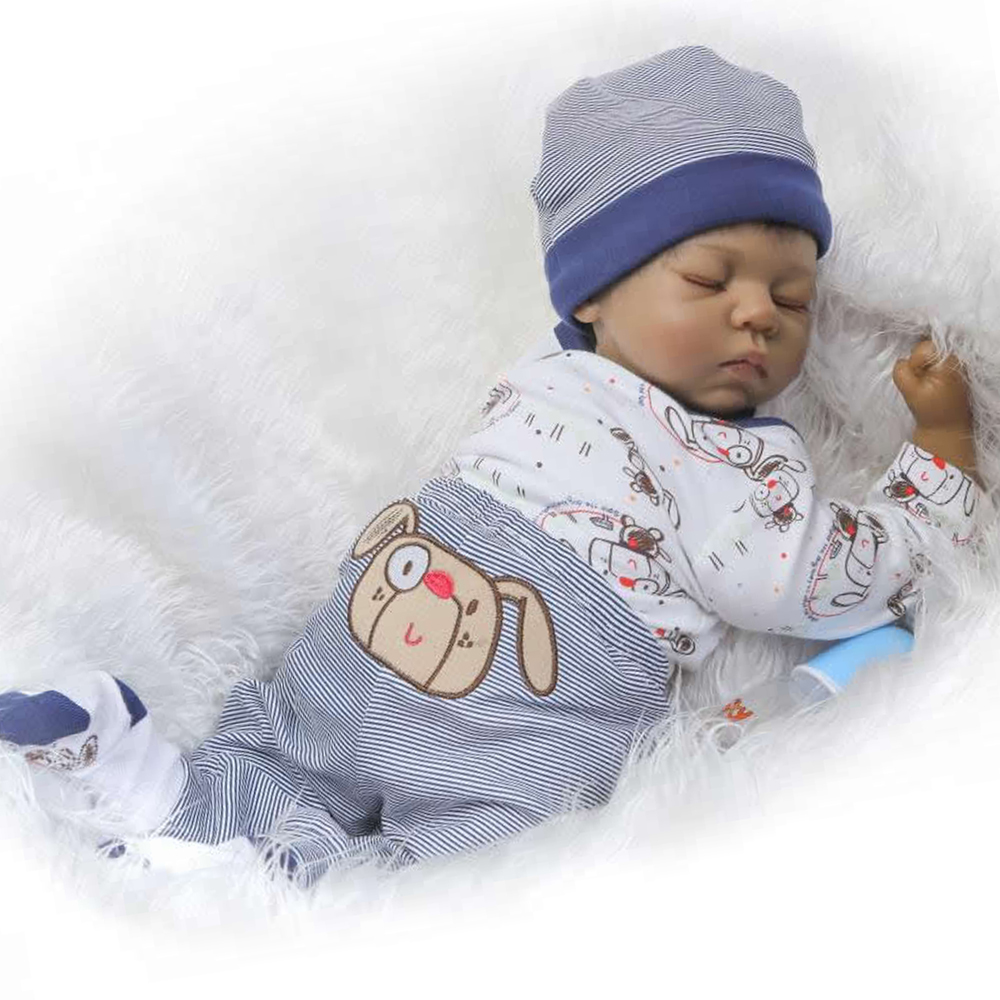 Tailored 22'' Black Ethnic Silicone Reborn Baby Doll 55 cm Vinyl Cloth Body Baby Dolls For Sale Boy Fashion kids Birthday Gift