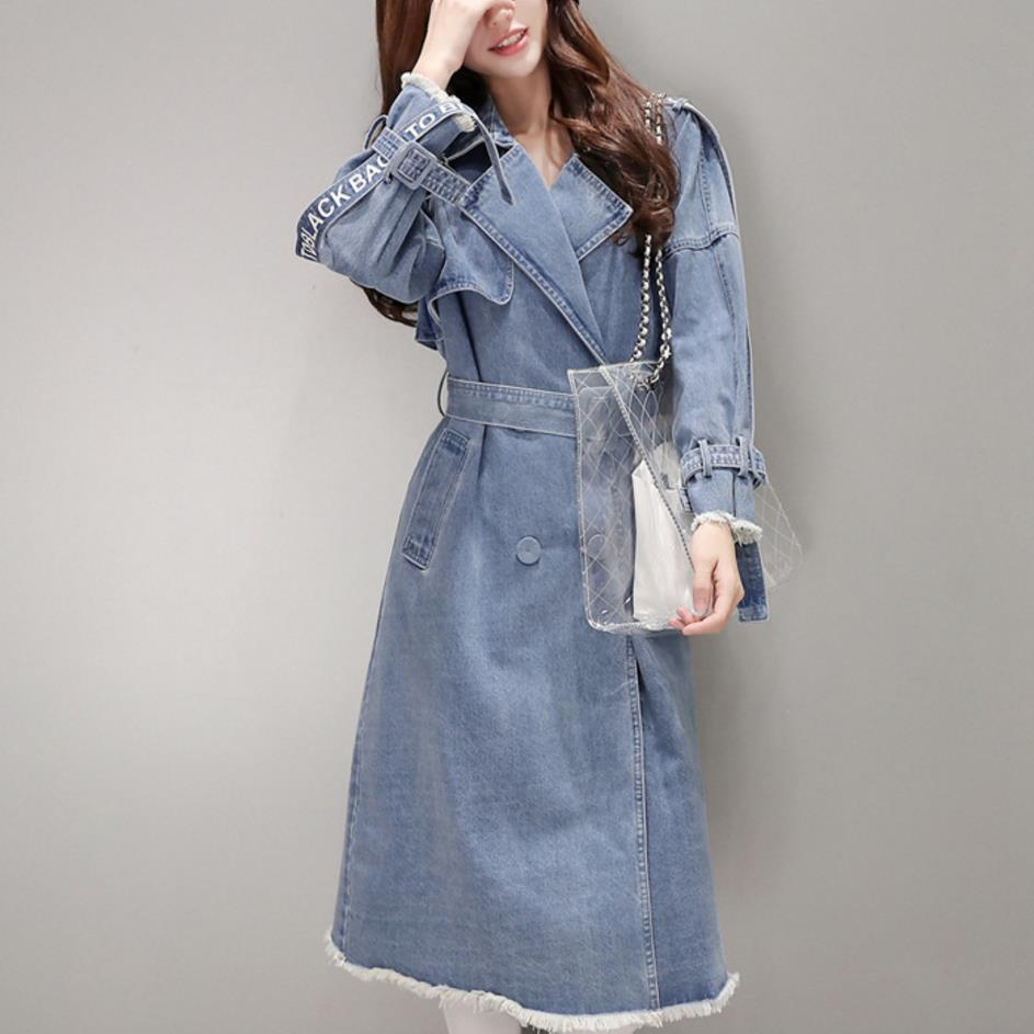 2018 autumn fashion turn down collar slim belt waist   trench   coat long denim coat women