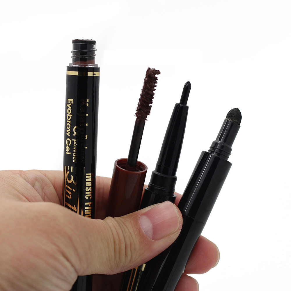 高品質 3 で 1 目眉メイクセット Kajal 眉ペンシルペン + 防水眉パウダーパレット + 眉毛マスカラジェル