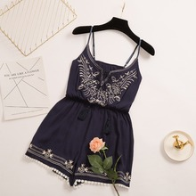 цена на Sexy Deep V-Neck Sling Bodysuits Summer Sleeveless Rompers Women Jumpsuit Embroidery Short Playsuits