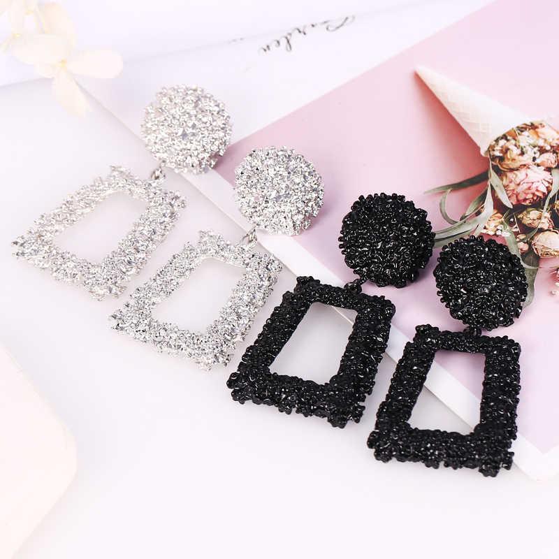 HOCOLE Fashion Gold Metal Drop Earrings For Women Statement Big Geometric Hanging Metal Dangle Earring ZA 2019 Brincos Jewelry